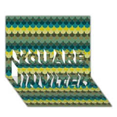 Scallop Pattern Repeat in  New York  Teal, Mustard, Grey and Moss YOU ARE INVITED 3D Greeting Card (7x5)