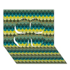 Scallop Pattern Repeat in  New York  Teal, Mustard, Grey and Moss Clover 3D Greeting Card (7x5)