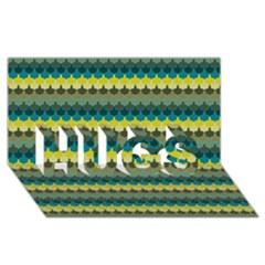 Scallop Pattern Repeat In  new York  Teal, Mustard, Grey And Moss Hugs 3d Greeting Card (8x4)