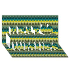 Scallop Pattern Repeat in  New York  Teal, Mustard, Grey and Moss Best Wish 3D Greeting Card (8x4)