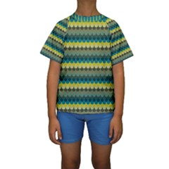 Scallop Pattern Repeat in  New York  Teal, Mustard, Grey and Moss Kid s Short Sleeve Swimwear