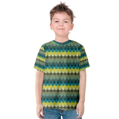 Scallop Pattern Repeat in  New York  Teal, Mustard, Grey and Moss Kid s Cotton Tee