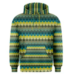 Scallop Pattern Repeat In  new York  Teal, Mustard, Grey And Moss Men s Pullover Hoodies