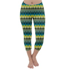 Scallop Pattern Repeat in  New York  Teal, Mustard, Grey and Moss Capri Winter Leggings