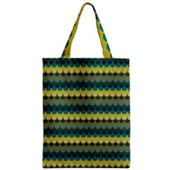Scallop Pattern Repeat In  new York  Teal, Mustard, Grey And Moss Zipper Classic Tote Bags