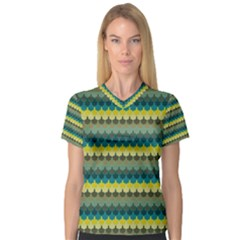 Scallop Pattern Repeat In  new York  Teal, Mustard, Grey And Moss Women s V Neck Sport Mesh Tee