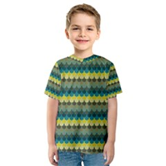 Scallop Pattern Repeat in  New York  Teal, Mustard, Grey and Moss Kid s Sport Mesh Tees