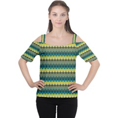 Scallop Pattern Repeat in  New York  Teal, Mustard, Grey and Moss Women s Cutout Shoulder Tee