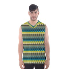 Scallop Pattern Repeat in  New York  Teal, Mustard, Grey and Moss Men s Basketball Tank Top