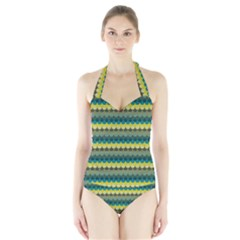 Scallop Pattern Repeat in  New York  Teal, Mustard, Grey and Moss Women s Halter One Piece Swimsuit