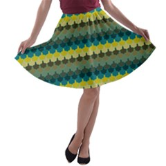 Scallop Pattern Repeat in  New York  Teal, Mustard, Grey and Moss A-line Skater Skirt