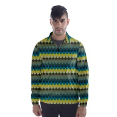 Scallop Pattern Repeat in  New York  Teal, Mustard, Grey and Moss Wind Breaker (Men)