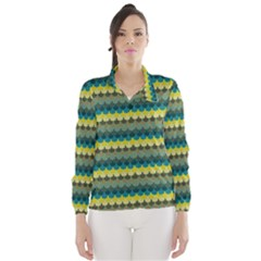 Scallop Pattern Repeat in  New York  Teal, Mustard, Grey and Moss Wind Breaker (Women)