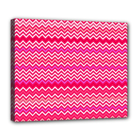 Valentine Pink and Red Wavy Chevron ZigZag Pattern Deluxe Canvas 24  x 20