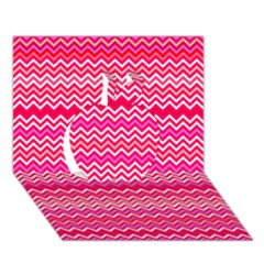 Valentine Pink and Red Wavy Chevron ZigZag Pattern Apple 3D Greeting Card (7x5)