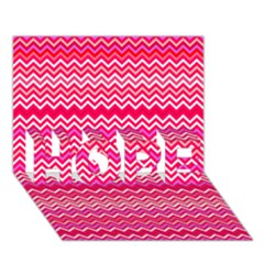 Valentine Pink and Red Wavy Chevron ZigZag Pattern HOPE 3D Greeting Card (7x5)