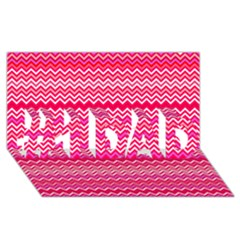 Valentine Pink and Red Wavy Chevron ZigZag Pattern #1 DAD 3D Greeting Card (8x4)