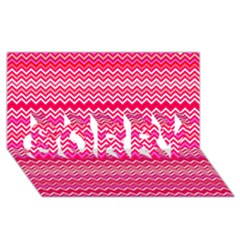 Valentine Pink and Red Wavy Chevron ZigZag Pattern SORRY 3D Greeting Card (8x4)