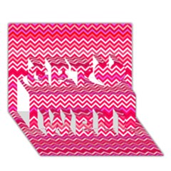 Valentine Pink And Red Wavy Chevron Zigzag Pattern Get Well 3d Greeting Card (7x5)