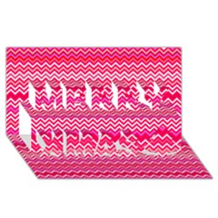 Valentine Pink And Red Wavy Chevron Zigzag Pattern Merry Xmas 3d Greeting Card (8x4)
