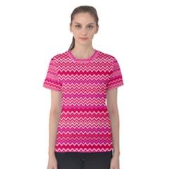 Valentine Pink And Red Wavy Chevron Zigzag Pattern Women s Cotton Tee