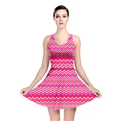 Valentine Pink And Red Wavy Chevron Zigzag Pattern Reversible Skater Dresses