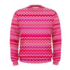 Valentine Pink And Red Wavy Chevron Zigzag Pattern Men s Sweatshirts