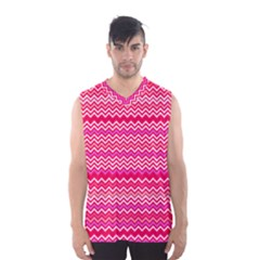 Valentine Pink and Red Wavy Chevron ZigZag Pattern Men s Basketball Tank Top