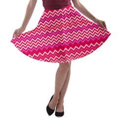 Valentine Pink and Red Wavy Chevron ZigZag Pattern A-line Skater Skirt