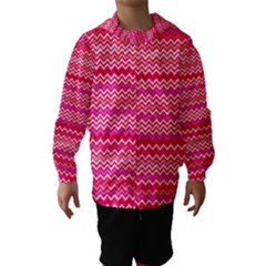 Valentine Pink and Red Wavy Chevron ZigZag Pattern Hooded Wind Breaker (Kids)