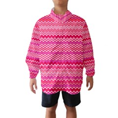 Valentine Pink and Red Wavy Chevron ZigZag Pattern Wind Breaker (Kids)