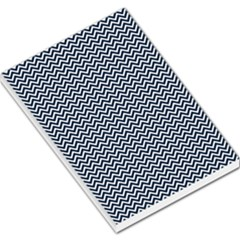 Blue And White Chevron Wavy Zigzag Stripes Large Memo Pads