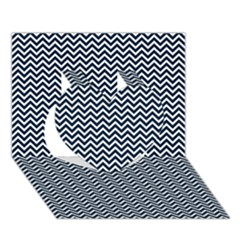 Blue and White Chevron Wavy Zigzag Stripes Heart 3D Greeting Card (7x5)