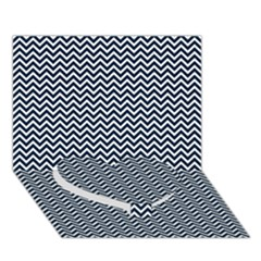 Blue And White Chevron Wavy Zigzag Stripes Heart Bottom 3d Greeting Card (7x5)