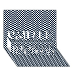 Blue And White Chevron Wavy Zigzag Stripes You Are Invited 3d Greeting Card (7x5)