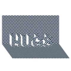 Blue And White Chevron Wavy Zigzag Stripes Hugs 3d Greeting Card (8x4)