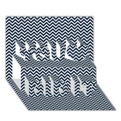 Blue and White Chevron Wavy Zigzag Stripes You Did It 3D Greeting Card (7x5)