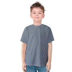 Blue and White Chevron Wavy Zigzag Stripes Kid s Cotton Tee