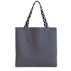Blue And White Chevron Wavy Zigzag Stripes Grocery Tote Bags