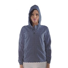 Blue and White Chevron Wavy Zigzag Stripes Hooded Wind Breaker (Women)