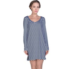 Blue And White Chevron Wavy Zigzag Stripes Long Sleeve Nightdresses