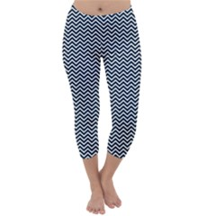 Blue and White Chevron Wavy Zigzag Stripes Capri Winter Leggings