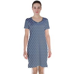 Blue And White Chevron Wavy Zigzag Stripes Short Sleeve Nightdresses