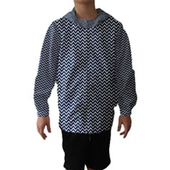 Blue and White Chevron Wavy Zigzag Stripes Hooded Wind Breaker (Kids)