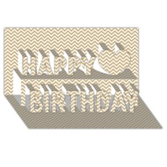 Gold and White Chevron Wavy ZigZag Stripes Happy Birthday 3D Greeting Card (8x4)
