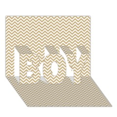 Gold and White Chevron Wavy ZigZag Stripes BOY 3D Greeting Card (7x5)