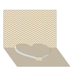 Gold And White Chevron Wavy Zigzag Stripes Heart Bottom 3d Greeting Card (7x5)