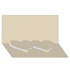 Gold And White Chevron Wavy Zigzag Stripes Twin Heart Bottom 3d Greeting Card (8x4)