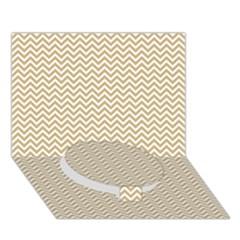 Gold and White Chevron Wavy ZigZag Stripes Circle Bottom 3D Greeting Card (7x5)