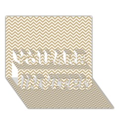 Gold and White Chevron Wavy ZigZag Stripes YOU ARE INVITED 3D Greeting Card (7x5)